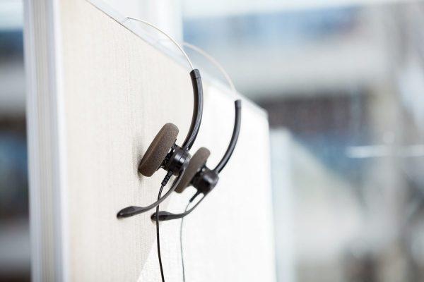 Headphones Hanging In Empty Office